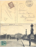ALSACE-LORRAINE CP STRASBURG TàD ALLEMAND 13.9.11  Afft 5 Pf TAXÉE 10 C. MER LOIR ET CHER TàD 15-9-11 - 1859-1955 Covers & Documents