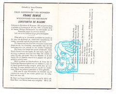DP Frans Remue ° Bottelare Merelbeke 1870 † Lemberge 1957 X Const. De Blauwe / Roels Delobelle De Sutter Naudts Lagaert - Devotion Images