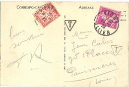 CP 5 MOTS AFFRANCHIE 20 C. TàD VICHY ALLIER 25-6-28 TAXÉE 30 C.  À PANISSIERES LOIRE TàD 26-6-28 - 1859-1955 Covers & Documents