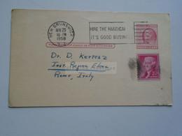 D179023 US Uprated Postal Stationery - Cancel 1958 New Brunswick W.W. Wainio -   To Dr. Denis Kertész   Italy - 1941-60