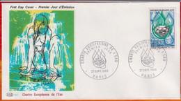"""FDC """" Editions PAC """"-FRANCE-1969 # (N°Yvert  1612 ) # Charte Européenne De L' Eau # Paris - 1960-1969"""