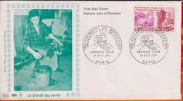 """FDC """" Editions PAC """"-FRANCE-1971# ( N°Yvert  1691 ) # Chambre Et Métiers - Le Travail Du Verre - Paris - 1970-1979"""