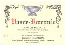 Etiket Etiquette - Vin Wijn - Bourgogne - Vosne Romanée - 1° Cru Les Suchots - François Lamadon - Bordeaux