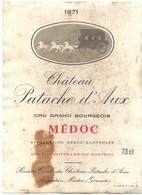 Etiket Etiquette - Vin Wijn - Bordeaux - Medoc , Chateau Patache D'Aux - 1971 - Bordeaux