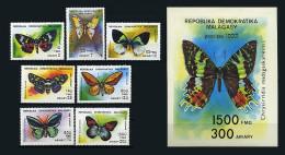 Madagascar 1992  Yvert 1068/1074 ** + Bloc 178 ** Papillons Butterflies Mariposas Farfalle Schmetterlinge - Madagaskar (1960-...)