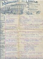 MENU DEJEUNER RESTAURANT DU CERCLE  BOULEVARD ST MARTIN PARIS 1926 ROBARDET PARIS - Menus