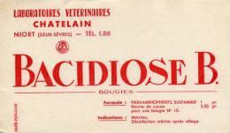 """Buvard Publicitaire """"Bacidiose B. Bougies - Laboratoires Vétérinaires Chatelain - Niort - Deux Sèvres"""" - B"""