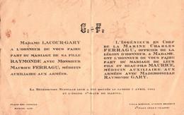 FAIRE-PART De MARIAGE - MARTEL / St MALO - Famille D'Officier De La Marine Nationale ... - Unclassified