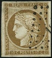Oblit. N°1 10c Bistre, Signé Robineau - TB - 1849-1850 Ceres