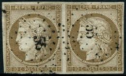 Oblit. N°1 10c Bistre, Paire - TB - 1849-1850 Ceres