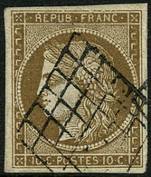 Oblit. N°1a 10c Bistre-brun, Signé JF Brun - TB - 1849-1850 Ceres