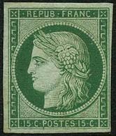 * N°2 15c Vert, Signé Calves Très RARE - TB - 1849-1850 Ceres