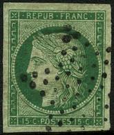 Oblit. N°2 15c Vert, Obl étoile Très Grandes Marges, Certif Scheller - TB - 1849-1850 Ceres