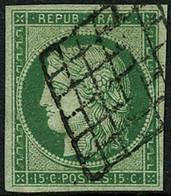 Oblit. N°2 15c Vert, Pièce De Luxe - TB - 1849-1850 Ceres