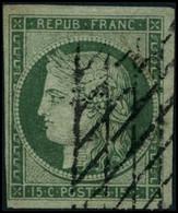 Oblit. N°2 15c Vert, Signé  JF Brun - TB - 1849-1850 Ceres