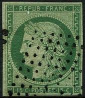 Oblit. N°2 15c Vert, Petites Marges Signé Calves - B - 1849-1850 Ceres