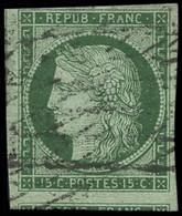 Oblit. N°2a 15c Vert-clair, Signé Brun - TB - 1849-1850 Ceres