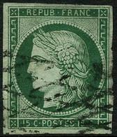 Oblit. N°2b 15c Vert Foncé, Pelurage Au Verso - B - 1849-1850 Ceres