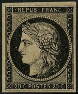 ** N°3 20c Noir S/jaune - TB - 1849-1850 Ceres