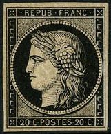 ** N°3a 20c Noir S/blanc, Signé Calves Et Brun  - TB - 1849-1850 Ceres
