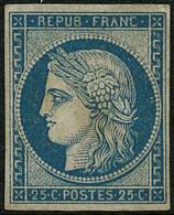 ** N°4 25c Bleu, Signé Calves Et Brun, RARE - TB - 1849-1850 Ceres