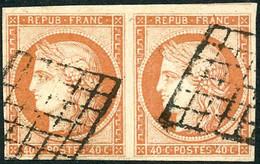 Oblit. N°5 40c Orange, Paire Grille Signé Scheller - TB - 1849-1850 Ceres