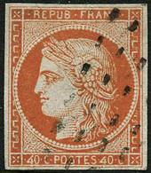 Oblit. N°5d 40c Orange, Variété 4 Retouché, Signé Calves, Brun, Roumet, RARE - TB - 1849-1850 Ceres