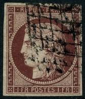 Oblit. N°6 1F  Carmin Foncé, Signé Brun - TB - 1849-1850 Ceres
