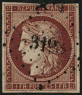 Oblit. N°6 1F Carmin , Pelurage - B - 1849-1850 Ceres