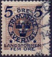 ZWEDEN 1916  5 Fem Op 5öre Landstorm II GB-USED. - Used Stamps
