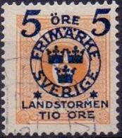 ZWEDEN 1916  5 Fem Op 6öre Landstorm II GB-USED. - Used Stamps