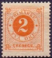ZWEDEN 1886-91 2öre Geel Ringtype Met Posthoorn Op De Achterzijde PF-MNH. - Unused Stamps