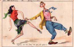 """CPSM, Deux Danseurs """"après On Ira Faire La Fête"""", Serie N° 505 - Humor"""