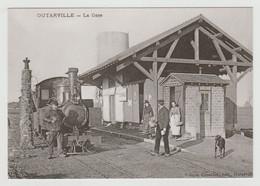45 OUTARVILLE REPRO N°1 La Gare Train Locomotive à Vapeur Voyageuses Sur Le Quai Chien - Andere Gemeenten
