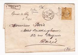 Lettre 1872 Sans Correspondance Paris Oblitération Étoile 22 Vernes & Cie Timbre Cérès 15 Centimes # 59 - 1871-1875 Ceres