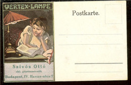 Hungary, Postcard, Advertising For VERTEX-LAMPE, Young Woman Reading A Book, Unused - Reclame