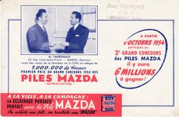 Buvard & Blotter - Piles MAZDA - Tavernier AMIENS Premier Prix Concours 1953 - Tampon Jean THEVENET T.S.F. CHARLIEU (42) - Unclassified