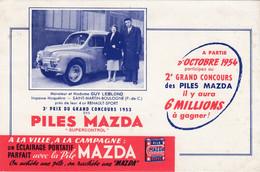 Buvard & Blotter - Piles MAZDA - - Guy LEBLOND - Saint Martin Boulogne (Pas De Calais) 4CV RENAULT Sport 1953 - Unclassified