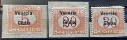 PORTO-5 C-20 C-30 C-OVERPRINT VENEZIA GIULIA-ITALY-1919 - Venezia Giulia