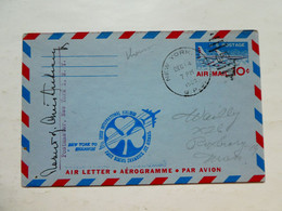 Aérogramme Vol Flight NEW YORK SHANNON Irish Airlines First Boeing Shamrock Jet Airmail Usa Irlande 4 Dec 1960 - Airplanes