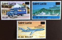 St Lucia 1980 Hurricane Relief Aircraft Ships MNH - St.Lucia (1979-...)