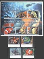 H396 DOMINICA FAUNA FISH & MARINE LIFE DIVING IN THE CARIBBEAN SET+KB MNH - Maritiem Leven