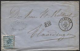 N°18 Obl. LP 351 S/lettre De TERMONDE Vers Les Pays-Bas 1867 - 1865-1866 Profiel Links