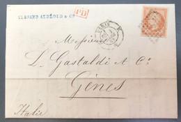 France N°16 Sur Lettre Losange K + TAD PARIS K 3.3.1862 Pour Gènes Italie - (A1187) - 1849-1876: Klassieke Periode