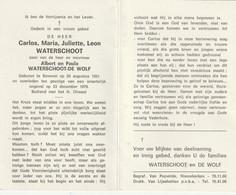 Verongelukt : Beveren, Coarlos Waterschoot,, De Wolf - Devotion Images