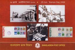 2008 Bangladesh 29 July Stamps Day Folder With IMPERF Souvenir Sheet - Bangladesh