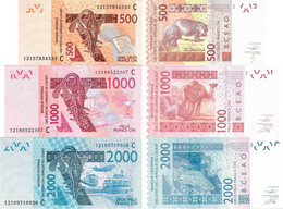 Burkina Faso - West African States Set 3 Pcs 500+1000+2000 Francs - Pick 315C-319C UNC Letter C - Burkina Faso
