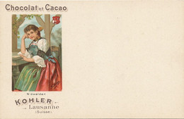Advert Kohler Chocolat Cacao Lausanne Beautiful Girl Native Dress Art Card Etat Luxe Nidwalden - NW Nidwald