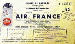 Timbres BILLET DE PASSAGE AIR FRANCE DAKAR PARIS 1951 TIMBRE FISCAUX  VOIR IMAGES - Gebruikt