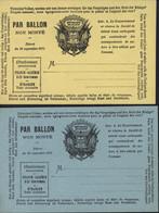 Guerre 1870 Petites Cartes Neuves Drapeau Par Ballon Non Monté Bleu Et Jaune - War 1870